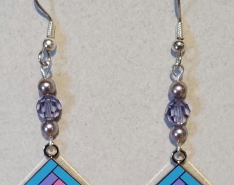 Quilter's Earrings Enameled Cloisonne COLORFUL LOG CABIN Quilt Block in Bllues with Swarovski Bling!