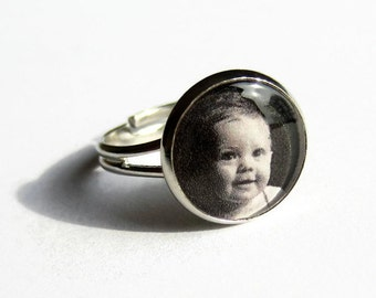 Custom Photo Ring, Picture Ring, Personalised Ring, Photo Jewelry, Keepsake Jewellery, Gift for Mum, Mother, Grandma, Nickel Free