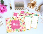 2017 Calendar Printable - 12 Month Calendar - Letter, 8.5 x 11in - Dated - Month on 1 Page - INSTANT DOWNLOAD