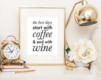 Bar Cart Art, Bar Cart Prints, Printable Coffee Sign, Printable Wine Sign, Wine Lover, Kitchen Printables, Coffee Printable, Coffee Lover