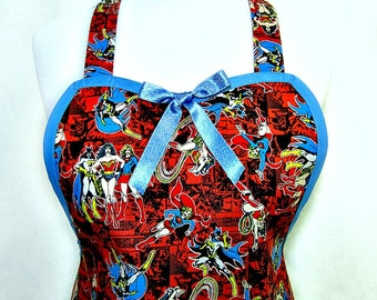 Apron WONDER Woman, SUPER HEROES, Super Girl, Bat Girl, Girl Power, Pretty Party Hostess, Unique Gift