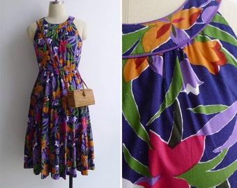 Vintage 80's 'Summer Garden' Racerback Cotton Sun Dress XS or S
