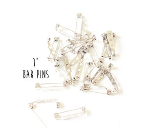 """10 pieces - 1 Inch Bar Pin - Glueable Pad - Brooch - for Covered Buttons and Other Glueable or Sewable Findings - 1"""""""