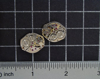 Vintage Watch Movements for Cufflinks or Earrings a Matched Set with Gears, for Jewelry Making, Mixed Media, Steampunk Art  Supplies 04294