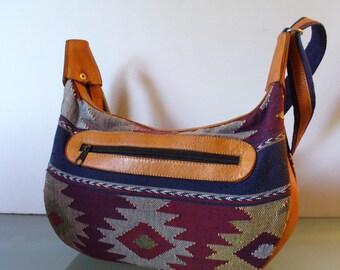 American Indian Print Hobo Bag