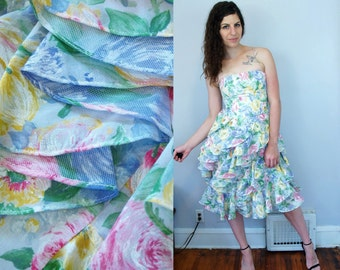 1980s 1990s Vintage VICTOR COSTA Designer Pastel Floral Flower Print Pattern Strapless Party Dress w/ Tiered Cascading Ruffles / Small S 4 6