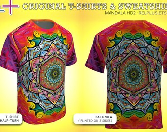 Mandala HD2 : T-Shirt (or Sweatshirt) * Full-print (on 2 sides) * original art * Best Print Quality ( cotton + polyester outside )