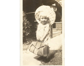 "Vintage Snapshot ""Little Traveler"" Cute Little Girl With Parasol & Overnight Bag - Vacation - Travel - Sepia Found Vernacular Photograph"