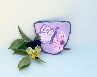 Purple Butterfly Magnet, Handpainted Butterfly, Cherry Blossom Flower, Purple Magnet, Decorative Slate, Fridge Magnet, Office Magnet