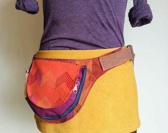 Bright Orange Chevron Ethnic inspired Fanny pack festival utility belt