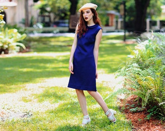 Vintage 60s Mod Dress Navy Blue Peter Pan Collar Shift Dress