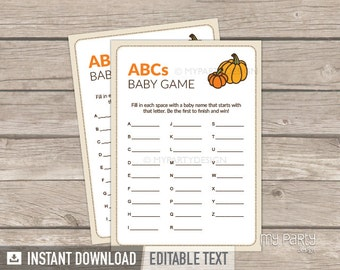 Abc Game - Baby Name Game - Little Pumpkin Baby Shower - Fall - Baby Shower Game - INSTANT DOWNLOAD - Printable PDF with Editable Text