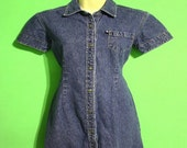 Vintage 90s Womens Tommy Jeans Size Medium Denim Mini Dress Tommy Hilfiger