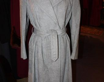 Vintage 1970's Full-Length Gray/Blue Suede Ladies Coat