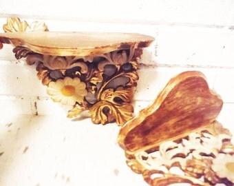 Vintage floral  Italian ornamental shelves knickknack display pair Florentine shelf gold leaf daisy shabby cottage carved wood