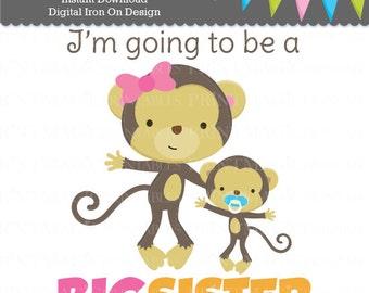 Monkey Big Sister Digital Iron On - Big Sister Digital Sticker Design - Pregnancy Announcement - Baby Boy Announcement - Gender Reveal