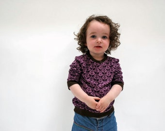 Kids retro top jersey sweater lilac purple brown funky print soft organic cotton scandinavian kids clothing baby jumper toddler babies cute