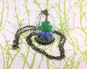 Tiny Oddish in a Glass Dome Pokemon Necklace - Pokemon Jewelry