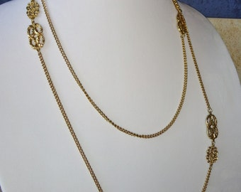 """Vintage Long Gold Chain Filigree Long Necklace 52"""""""