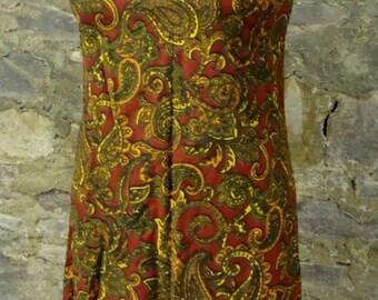 fall colors VINTAGE SHIFT DRESS paisley sleeveless xs S