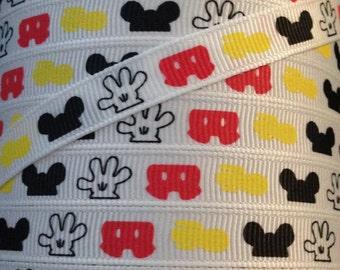 3/8 Grosgrain Ribbon - Printed Grosgrain Ribbon - 3 yards Mickey Mouse Parts - Ribbon By The Yard - Ribbon Supplies - Disney Mickey Ribbon