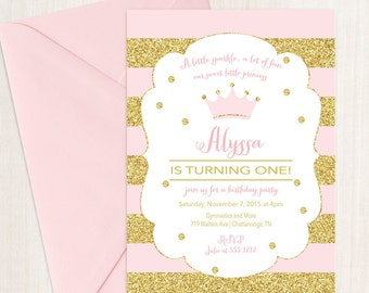 Princess Birthday Party Invitation, First Birthday Invitation, Printable, DIY, Pink Princess Invitation, Gold and Pink, Crown