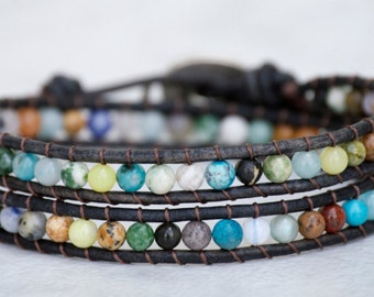 50% OFF Double Wrap Bracelet Natural Brown Leather Elephant Button Semi Precious Gemstone Beads Hobo Jewelry
