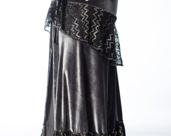 SAMPLE SALE Size M Grey and Black Lace Ready To Ship Lily Skirt for Bellydance and Tribal Fusion Costuming