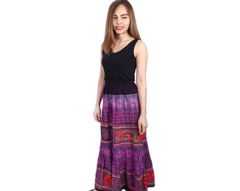 Hmong Skirt With Vintage Fabric Hand Woven Thailand Fashionable (HT101.2)