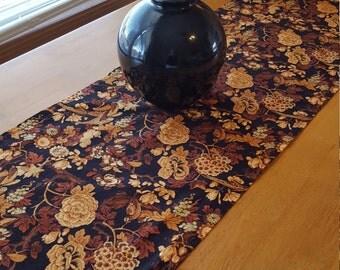 Fall Table Runner, Black and Gold Table Runner, Rust Table Runner, Fall Floral Table Runner