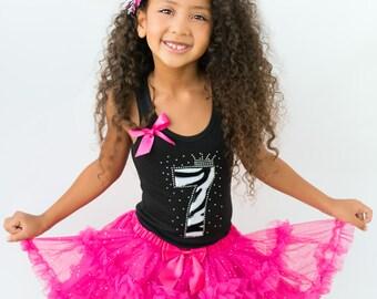 Girls Zebra Birthday Tutu Dress, 7th Birthday Outfit, Black White Zebra, Rhinestone Number Seven, Hot Pink Tutu Set, Seventh Birthday 7yrs