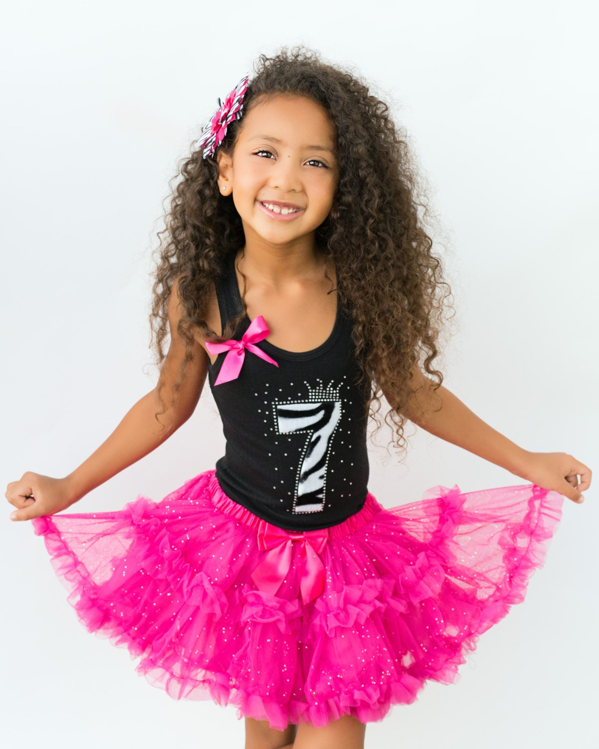 Girls Zebra Birthday Tutu Dress 7th Birthday Outfit Black