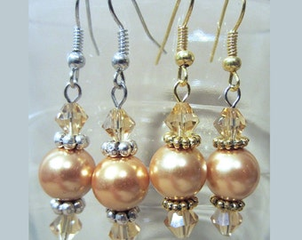 Colored Pearls & Matching Crystals Pierced Wedding Earrings in Gold or Silver, Handmade Original Fashion Jewelry, Classic Elegant Stylish