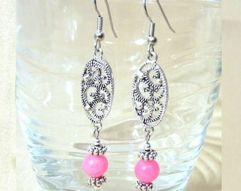 Pink Bead Silver Earrings, Hot Pink Jade & Silver Oval Filigree Dangle Earring, Silver Filigree Earrings Handmade Beaded Jewelry Ladies Gift