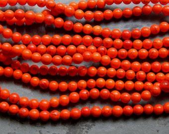 6mm Bright Orange Magnesite Round Polished Gemstone Beads, 15.5 Inch Strand (IND1C26)