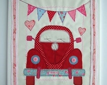 Goddaughter First Birthday Gift VW Beetle Personalized Canvas Love Bug Textile Art 1st Birthday Gift for Niece Granddaughter Gift
