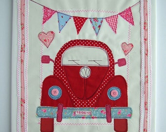 Girl Love Bug VW Beetle Personalized Canvas. Cute VW Bug Textile Art. VW Beetle. Goddaughter First Birthday Gift, Niece, Granddaughter Gift