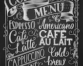 Coffee Menu printable, chalkboard style drawing, instant digital download