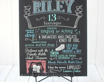 "20""x24"" canvas, teen birthday chalkboard style custom ink drawing, the original Favorite Things Poster™"