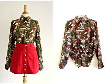 Botanical Print 70s Shirt - top, island print, rainforest, tropical, forest, jungle, green, khaki, red, brown, small, medium, large