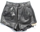 Vintage Punk Leather Hotpant Shorts low waisted  black genuine leather punk Distressed Frayed  hotpants  W26