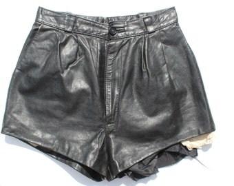 "Vintage Punk Leather Hotpant Shorts -low waisted - black genuine leather- punk Distressed Frayed - hotpants - W26"""