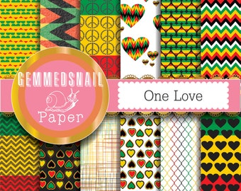 Rasta digital paper Rasta patterns for your reggae party, one love, 12 reggae backgrounds