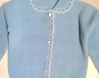 "Vintage 1950s Little Girls' Light Blue Cardigan Sweater 23"" Chest 3 4"