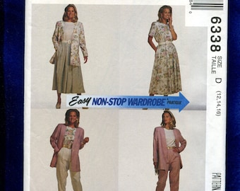 McCall's 6338 Loose Fitting Jacket, Top Tapered Pants & Full Skirt Size 12..14..16 UNCUT