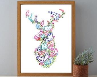 Deer Head Gift Print, Stags Head Print, Decorative Woodland Gift Print