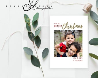 Photo Christmas Card, Holly Jolly Christmas Card, Christmas Card Template, Photoshop Template, C414, INSTANT DOWNLOAD