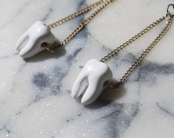 White Teeth Earrings on Brass Chain