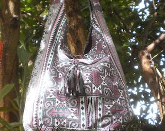 Hmong Print Messenger Bag, Tote Bag, Cross Body Purse, Tribal Print Bag, Tribal Bag, Hand Made Bag, Boho Bag