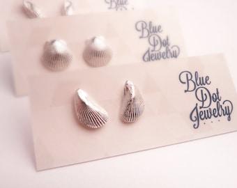 Silver Mussel Shell Post Earrings